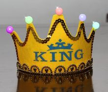Birthday Cap Happy Glowing 5 lamp Crown Cap King Princess crown headdress Birthday party dress up Christmas carnival HOT selling