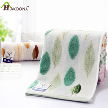 HAKOONA Leaves  Embroidered  100% Cotton Face Towels For Adults Women Men  70*35cm Bathroom Hand   Towels