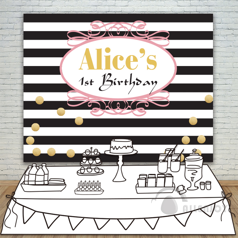 Allenjoy Girls Birthday backdrops Baby Shower Background Black and White Stripe banner Invitation celebration Party customize<br>