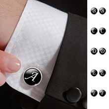 Fashion Jewelry Men Cufflinks Alphabet Single Letter Black Bottom Silver color Wedding Party Vintage 16 mm Men Cuff Link 2017(China)