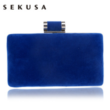 SEKUSA Chain Shoulder Women Evening Bags Velvet Small Clutch Wedding Party Dinner Fashion Evening Bags Mixed Candy Color Bag(China)