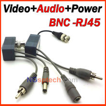 Best price 8pcs/4 Pairs BNC Video Balun Audio Power CCTV Audio Video Balun UTP twisted pair Power Transceiver Supply