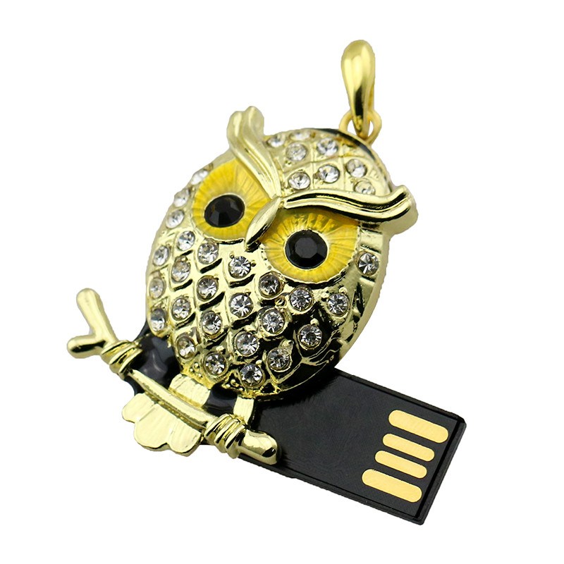 Animal USB Flash Drive Metal Diamond Owl Pendrive Nighthawk Pen Drive 4GB 8GB 16GB 32GB 64GB USB Memory Stick Gift With Necklace 27