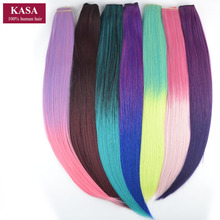 "Kanekalon Synthetic Hair Clip In Hair Extension 5Clips Straight 24"" 60cm 110g Rainbow Ombre 14Colors Available Hairpieces Slice"