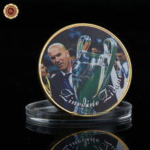 WR Collectible 24k Gold Souvenir Gifts Man Birthday Art Crafts Zinedine Zidane Soccer Challenge Metal Coins Ornament(China)
