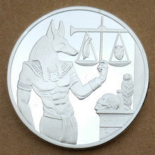 Egypt Anubis Silver 40mm Pyramid Commemorative Coin Tourism Gift(China)