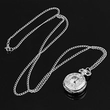 YCYS! Silver Pocket Watch Necklace Chain Quartz Ancient