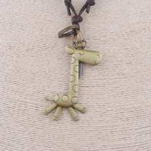Antique Vintage Cross Dog Tag giraffe Symbol Pendant Necklace Men, Long Leather Necklace Cord Women Jewelry Accessories