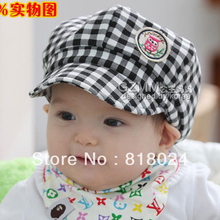 FREE SHIPPING 1piece Children's hat wholesale the owl grid/tartan/plaid baby spring Autumn baseball cap Unisex Animal Hat(China)