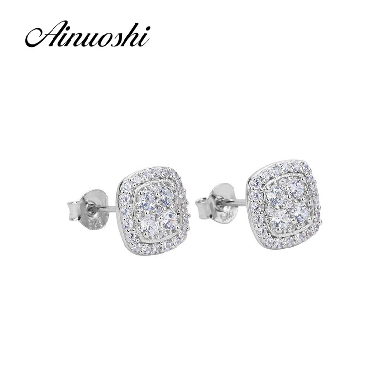 AINUOSHI Luxury 925 Sterling Silver Stud Earrings Halo Silver Push-back Earrings for Women Christmas Jewelry aretes de plata