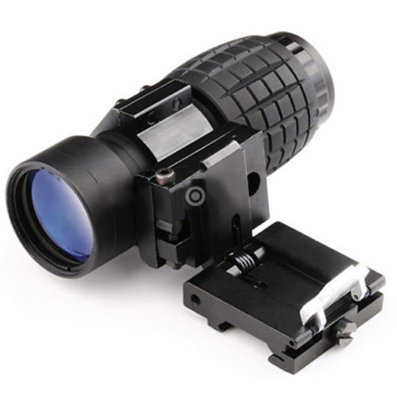 New Hunting Tactical Compact 3X Magnifier Scope Riflescope Airsoft Sight with 20mm Rifle Gun Rail Mount Flip Side Mount Black<br><br>Aliexpress