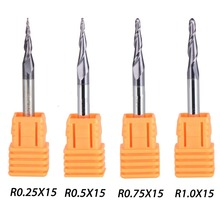 4Pcs/lot 4 Models Carbide Tapered End Mill Ball Nose Flute Length 15mm Dia 4mm Series HRC55(China)