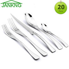 JANKNG 20Pcs/Set Cutlery Set 18/10 Stainless Steel Dinnerware Serrated Sharp Steak Knife Tableware Set Service For 4(China)