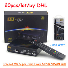 Freesat V8 Super DVB-S2 Satellite TV Receiver Support powervu biss key Ccam Tuner Mpeg4 Full HD 1080P Receptor +USB WIFI by DHL(China)