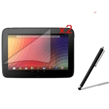 "2x films + 2x Clean cloth + 1x Stylus , Clear LCD Screen Protector Protective Film Guards For Google Nexus 10 10.1"" Tablet"