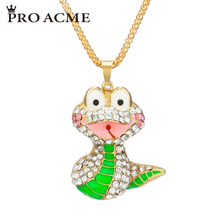 Pro Acme Fashion Animal Snake Necklaces & Pendants for Women Elegant Crystal Long Sweater Chain Necklace Female Jewelry PN0751(China)