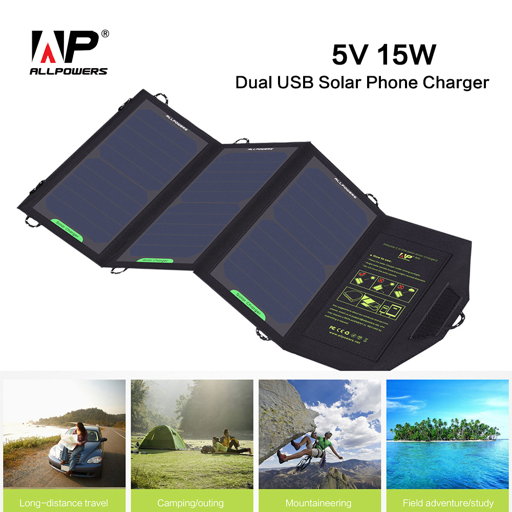 ALLPOWERS Outdoors Portable Foldable Solar Charger 5v 15w Solar Phone Charger for iphone samsung HTC Tablet PC and More.<br><br>Aliexpress
