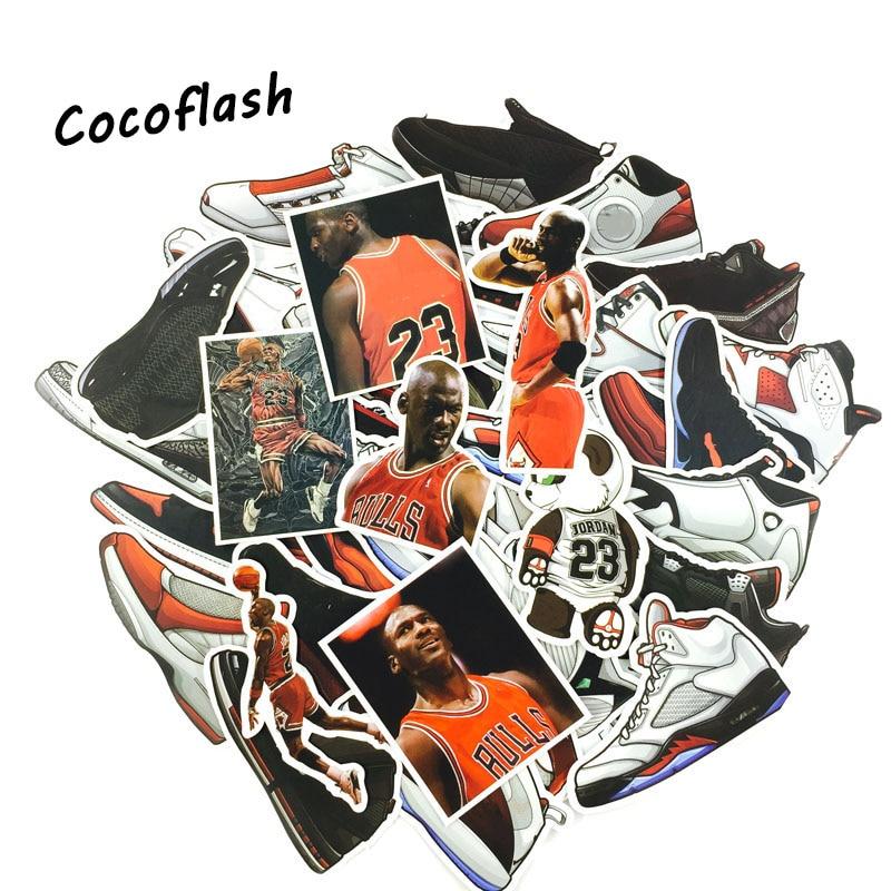 52pcs Not Repeat Basketball Stars Sneakers Notebook Bike Luggage Box Tide Brand Shoes Jordan Graffiti Jordan Waterproof Sticker
