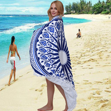 2016 Bath Mats Towel 150cm Sunlight Round Beach With Tassel Towel Print Summer Bohemian Beach Serviette De Plage Toalla Playa
