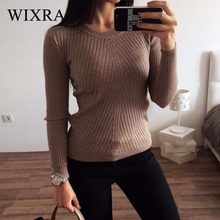 Wixra Warm and Charm Womens Sweater Essential Tops Solid Boat Neck Long Sleeve Knitted Ribbed Pullovers Basic Sweaters for Women(China)