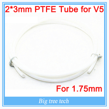 1M 2*3MM PTFE Tube Teflon PiPe to J-head hotend RepRap Rostock Bowden Extruder for 1.75mm For V5 with free shipping
