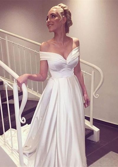 Charming White Ivory Off the Shoulder A-Line Wedding Dresses 2019 Sweetheart with Sweep Train Bridal Gowns vestidos de novia