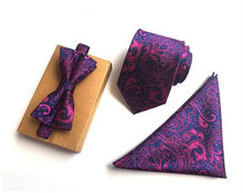 CityRaider Purple Paisley Print New Mens Neckties Silk Ties For Men Handkerchief And Bow Tie With Match Neck Ties 3pcs Set CR020