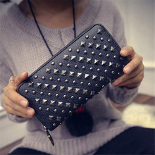 2017 New fashion Women's Black Rivet Rock PU wallet Fashion Trend clutch bag Wallet Purse Handbag carteras mujer wholesale
