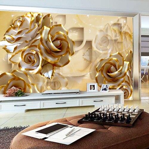 Custom Size Photo TV background living room bedroom wallpaper mural 3D stereo warm golden rose wallpaper <br>