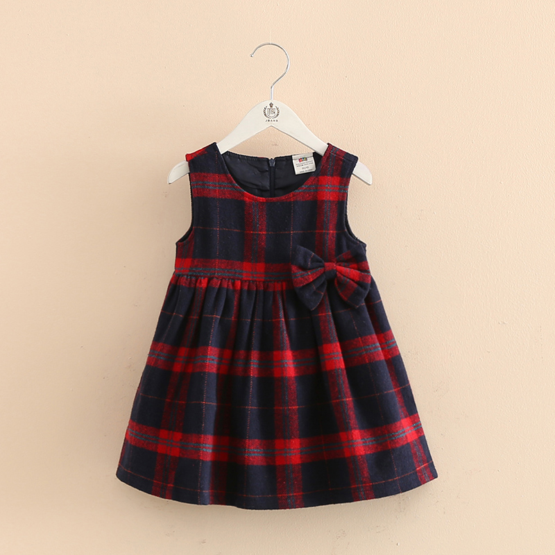2017 Hot Sale autumn Girls red dark blue plaid Seeveless bow Girl Dress england style Dresses For Girls kids children clothing<br><br>Aliexpress