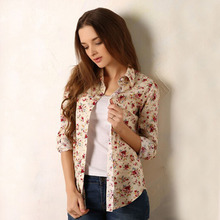 new 2018 Fashion women vintage floral printed flower cotton blouse long sleeve elegant Shirts casual slim S-XL sping Autumn(China)