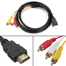 New Arrived 5 Feet 1080P HDTV HDMI Male to 3 RCA Audio Video AV Cable Cord Adapter  7C4C