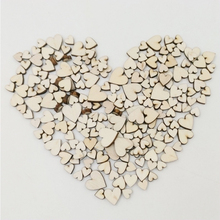 100pcs 4 Size Mixed Love Heart Shape Rustic Wooden Button Wedding Table Scatter Decoration Home Decor