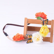 Butterfly Camellia Flower Elasticity Floral Headband Hairstyles Headwrap Floral Crown Wedding Women Girl Christmas Photography