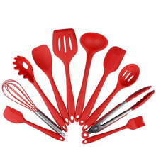 Silicone Kitchen Utensils, 10 Piece Cooking Utensil Set Spatula, Spoon, Ladle, Spaghetti Server, Slotted Turner.  Cooking Tools