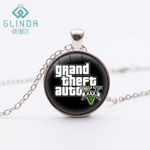 GLINDA 17 Style Grand Theft Auto V Art necklace Hot Game GTA 5 Silver Plated Pendants jewelry Handmade Birthday Gift