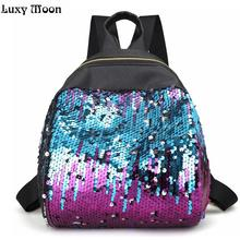 2017 New mini backpack Women All-match Bag PU Leather Sequins Backpack Girls Small Travel Princess Bling Backpacks blink mochila
