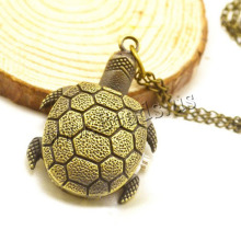 Drop Shipping Retro Bronze Quartz Pocket Watch Turtle Pendant Necklace Watches Women Men Gift Steampunk Jewelry Pocket Clock