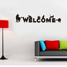 Black Cat Wall Art Decal Sticker English Words Welcome Store Door Decoration Wallpaper Decal Poster Creative Glass Window Decor(China)