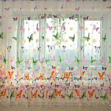 Home Decor Curtain Butterfly Print Sheer Window Panel Curtains Room Divider New Arrival Best Discount