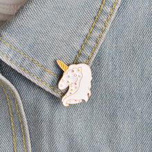 Cartoon Animal Colorful Unicorn Bubble Dream White Horse Brooch Button Pins Denim Jacket Pin Badge Gift Fashion Jewelry(China)