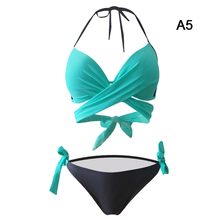 Buy 2018 Hot Sexy Cross Back Halter Brazilian Bikinis bandage design Women Low Waist Swimwear Beach Bathing Suit Push Bikini Set