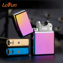 Electronic Cigarette lighter Pulsed Arc Slim Windproof cigar Lighter USB Rechargeable Flameless Electric Arc Smoking Lighter(China)