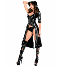Buy Bodysuit Black Gothic Punk Wetlook Hooded Coat Latex PVC Lingerie Set One Shoulder Design Thong Sexy Women Clubwear W84402