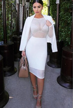 Women sexy full sleeve hollow out mesh net see through celebrity bandage dress elastic club party dress 2017 new drop ship HL524
