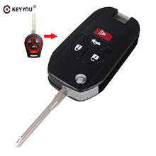 KEYYOU New 4 Buttons Uncut Blank Remote Flip Folding Key Shell Case Fob for Nissan Altima Maxima Sentra Versa