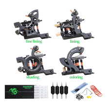 Professional Tattoo Kit  Machine 4 Style Guns Set With Disposable Needles Gift