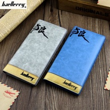 Men's Long Leather Wallets Cool Folded Chinese Words Purses Coin Pocket Passport Holder Birthday Gift Bag Free ShippingC234(China)