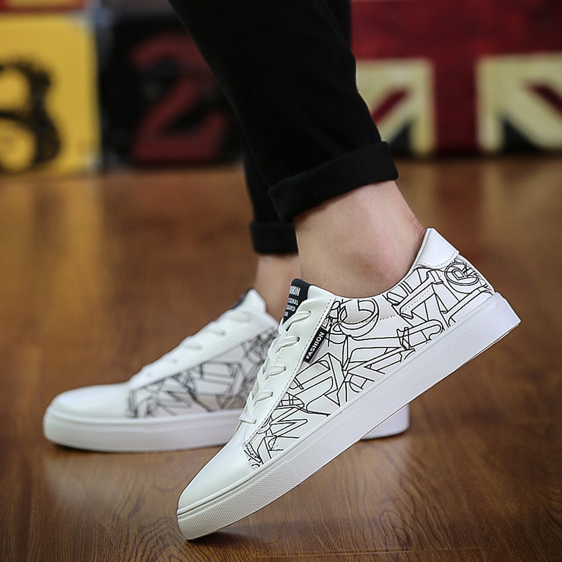 Newest Classic Black White Men Casual Shoes Footwear High Top Men Breathable Walking Shoes Skater Sneake Size 39-44<br><br>Aliexpress