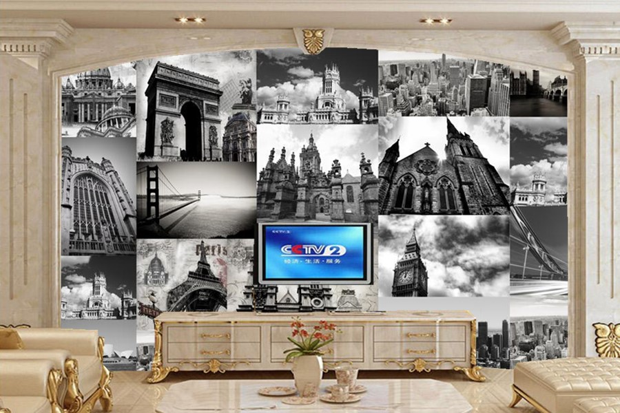 Large murals,Personality black and white architecture wallpaper,bar restaurant living room sofa TV wall bedroom papel de parede <br>